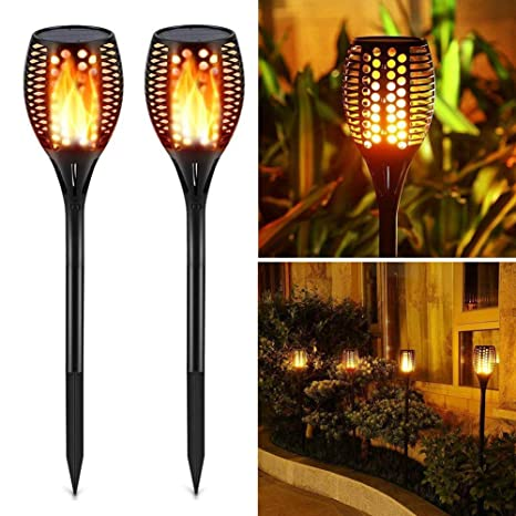 UK Solar Path Torch Light Flame Lighting 96 LED Flickering Outdoor Garden Lamp