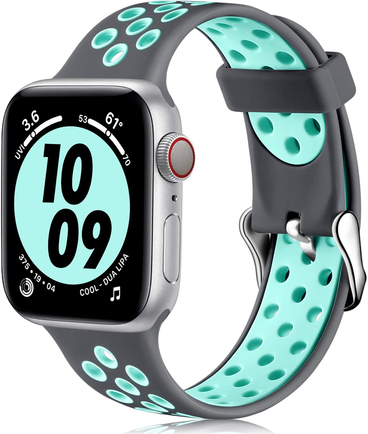 Nofeda bands Compatible with Apple Watch Band 38mm 40mm for Women Men,Soft Silicone Waterproof Breathable Replacement Wristband Sport Strap for iWatch Series 1/2/3/4/5/6/SE, Gray/Teal, S/M