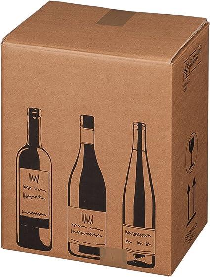 Cajas de Cartón Plegable de botellas de vino Cajas de Cartón Cartón de botellas de vino caja de cartón, cantidad: 5 unidades, botellas cantidad: 6 botellas: Amazon.es: Oficina y papelería