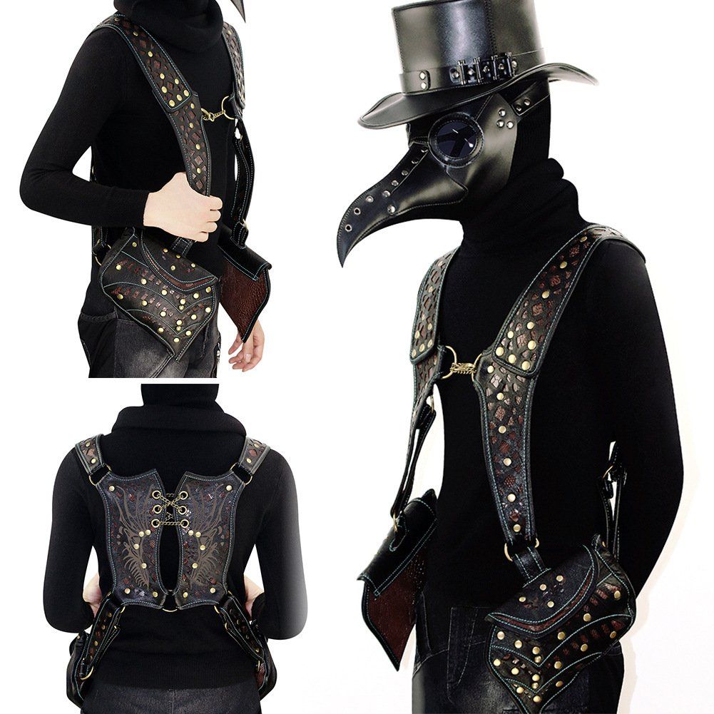 Mn&Sue Motorcycle SteampunkWomen's BagKnight Vest Packs Holster Gothic Waistcoat Side-Entry Pockets
