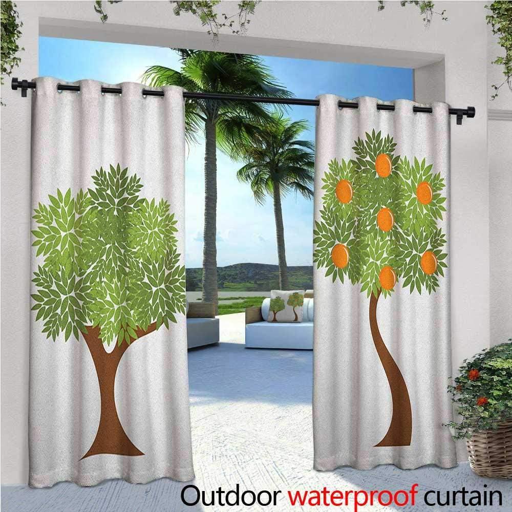 Cortinas de patio verde y naranja, caricatura de frutas, para ...