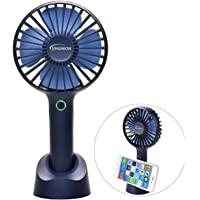 YIHunion Mini Handheld Personal Portable USB Rechargeable Battery Powered Fan with Base (Blue, Green & White)