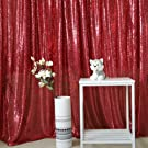 GFCC Red 8x10FT Sequin Backdrops Rectangular Sequin Curtain for Wedding Birthday Party