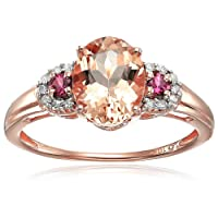 10k Rose Gold Morganite, Pink Tourmaline and Diamond 3-Stone Engagement Ring (1/10cttw, H-I Color, SI1-SI2 Clarity), Size 6