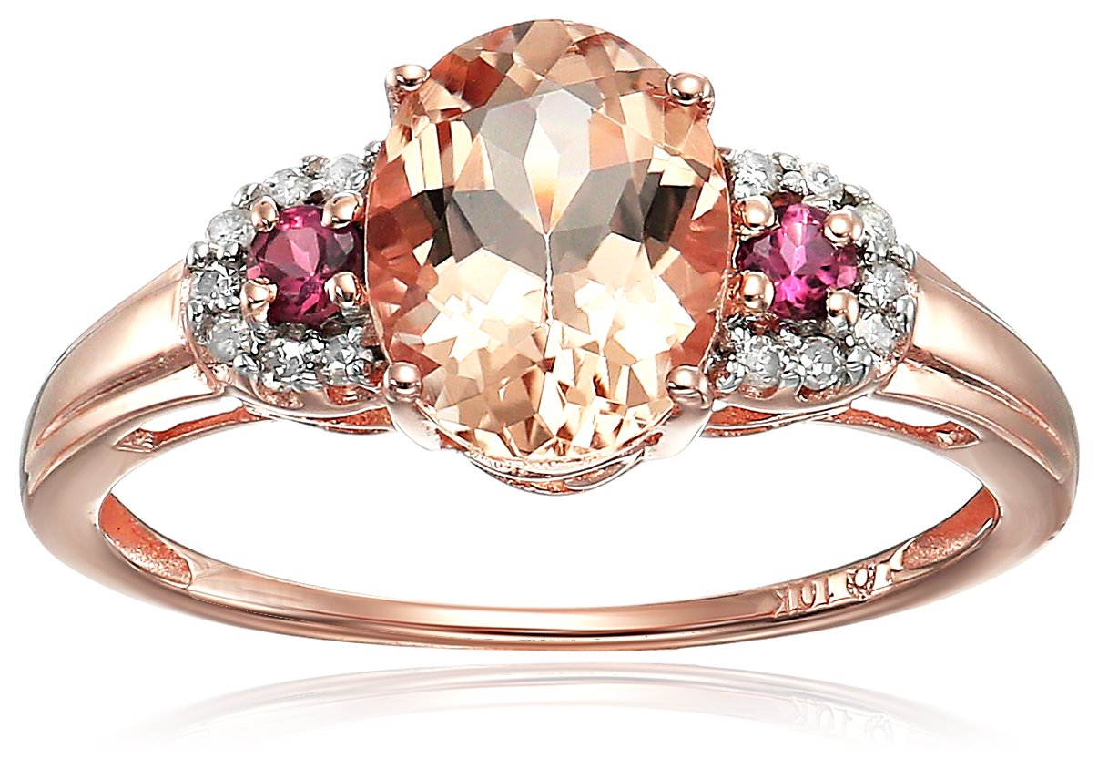 10k Rose Gold Morganite, Pink Tourmaline and Diamond 3-Stone Engagement Ring (1/10cttw, H-I Color, SI1-SI2 Clarity), Size 8