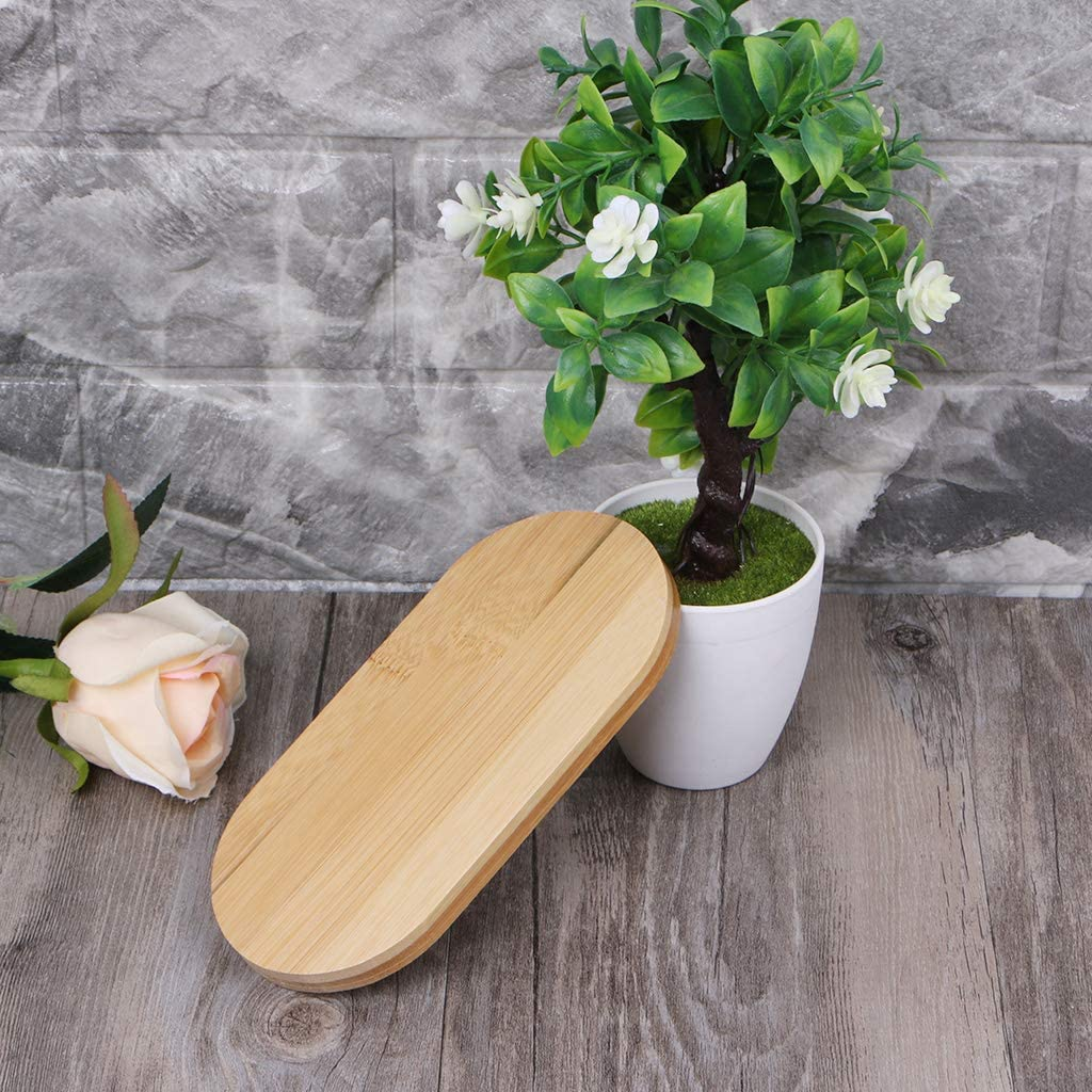 R-WEICHONG Bamboo Flower Pot Tray Oval Bamboo Wooden Saucer Mini Plant Succulent Tray Simple and Elegant Design Plant Pot Rack Home Balcony Decoration