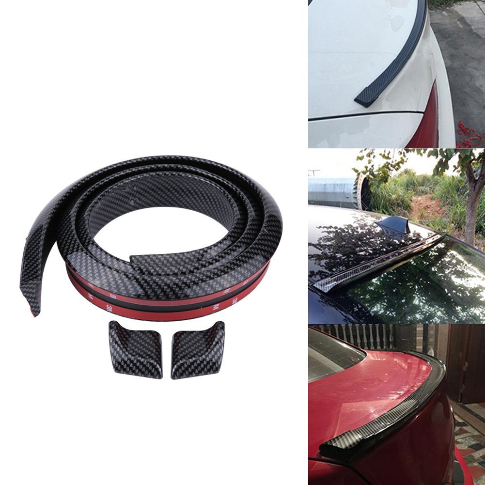 Black Acouto 1.5m//4.9ft Soft Rubber Car Rear Roof Trunk Spoiler Wing Lip Sticker Carbon Fiber