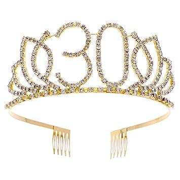 Amazon.com: BinaryABC - Diadema de tiara de 30 cumpleaños ...