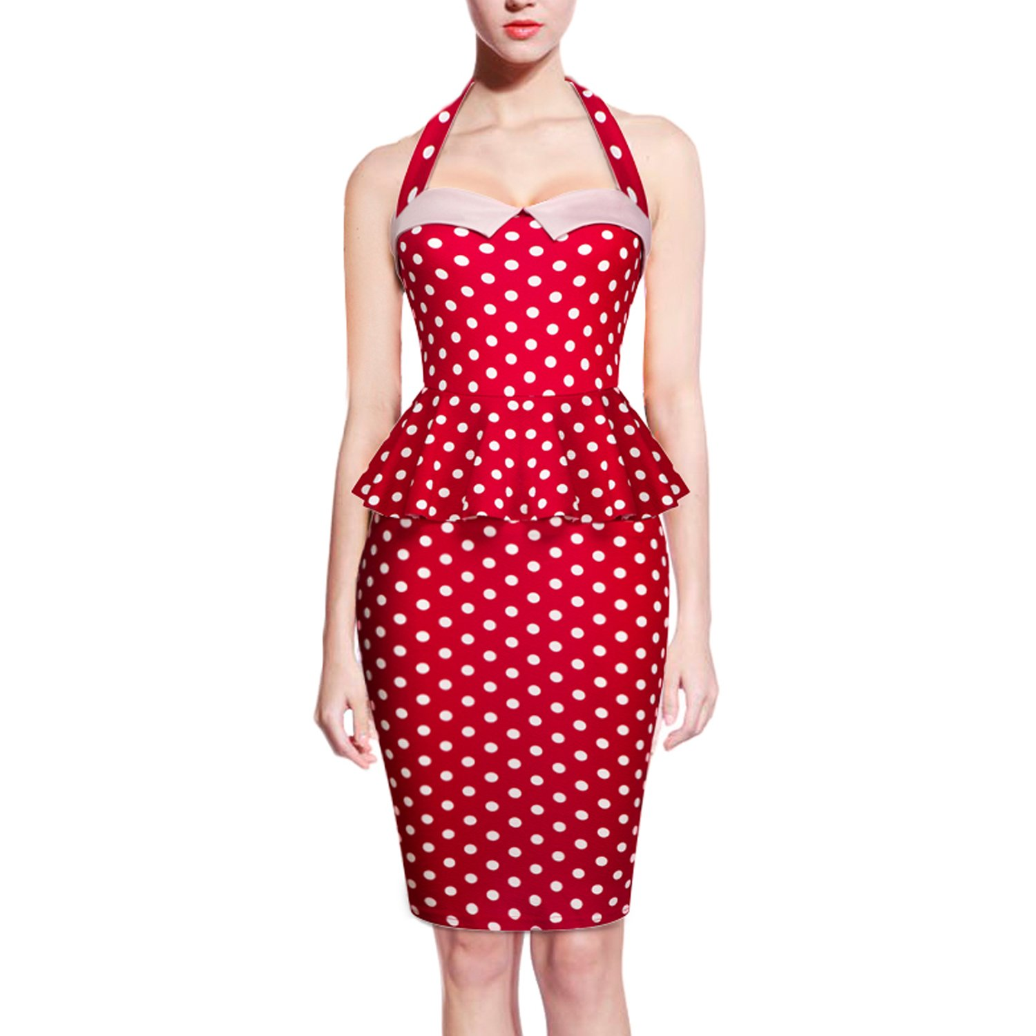 Pinup Fashion Vintage 1950s Rockabilly Polka Dots Retro Bodycon Cocktail Dress Red