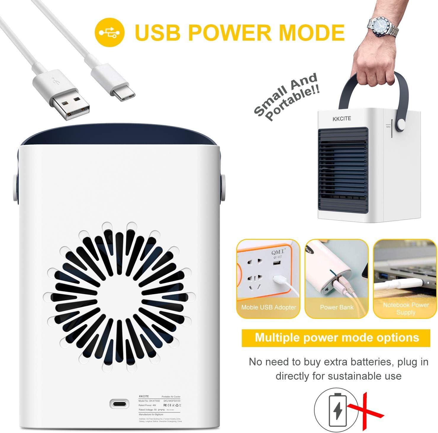 KKCITE port/átil Aire Refrigerador 3 en1 Aire Enfriador humidificador,purificador,Mini Ventilador Aire Acondicionado evaporaci/ón Refrigerador silencioso m/óvil Aire Acondicionado elocidades