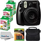 Fujifilm Instax Mini 8 Instant Film Camera (Black) With Fujifilm Instax Mini 6 Pack Instant Film (60 Shots) + Compact Bag Case + Batteries Top Kit - International Version (No Warranty)