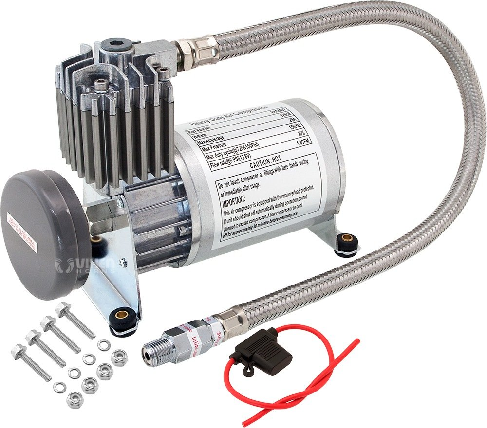 Vixen Horns 150 PSI Heavy Duty Train Horn/Suspension/Air Ride/Bag Air Compressor/Pump with 1/4'' Stainless Steel Braided Hose and 1/4'' NPT Check Valve 12V Chrome VXC8801