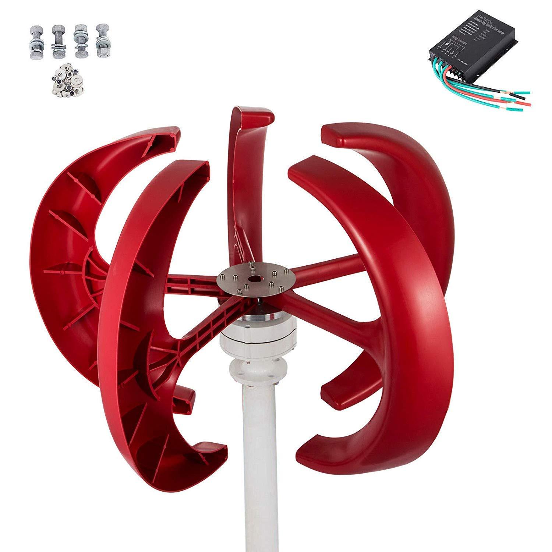 Moracle Generador de Viento de 24 V Aerogenerador de Turbina de Viento de Turbina de Viento de 400 Vatios Turbinas de Viento de 5 MPH para Palas de Viento en Casa con Poco Viento
