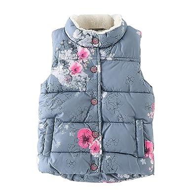 1b243054dee5 David Nadeau Autumn Winter Fashion Floral Outerwear Girls Vest Baby ...