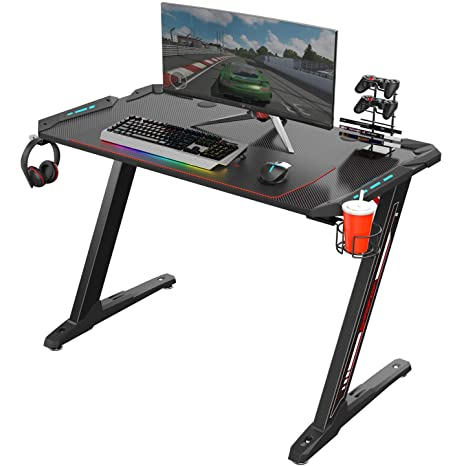 Remarkable Eureka Ergonomic Z1 S Gaming Desk 44 5 Z Shaped Office Pc Computer Gaming Desk Gamer Tables Pro With Led Lights Controller Stand Cup Holder Headphone Machost Co Dining Chair Design Ideas Machostcouk