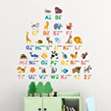 DECOWALL DW-1614 Colourful Animal Alphabet ABC Kids Wall Stickers Wall Decals Peel and Stick Removable Wall Stickers for…