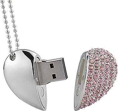 16GB USB 2.0 Pen Drive Flash Drive Memory Stick Key USB Bling Pendant Heart