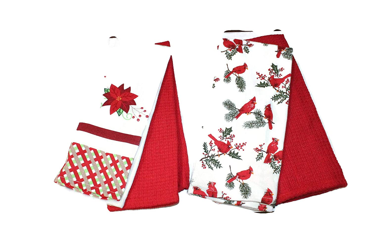 Holiday Christmas Kitchen Towels Gift Set with Poinsettia Twisted Anchor Trading Co Set of 4 Christmas Kitchen Towel Set Comes in Organza Gift Bag