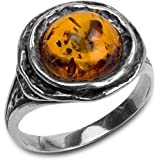 Amber Sterling Silver Classic Flower Ring