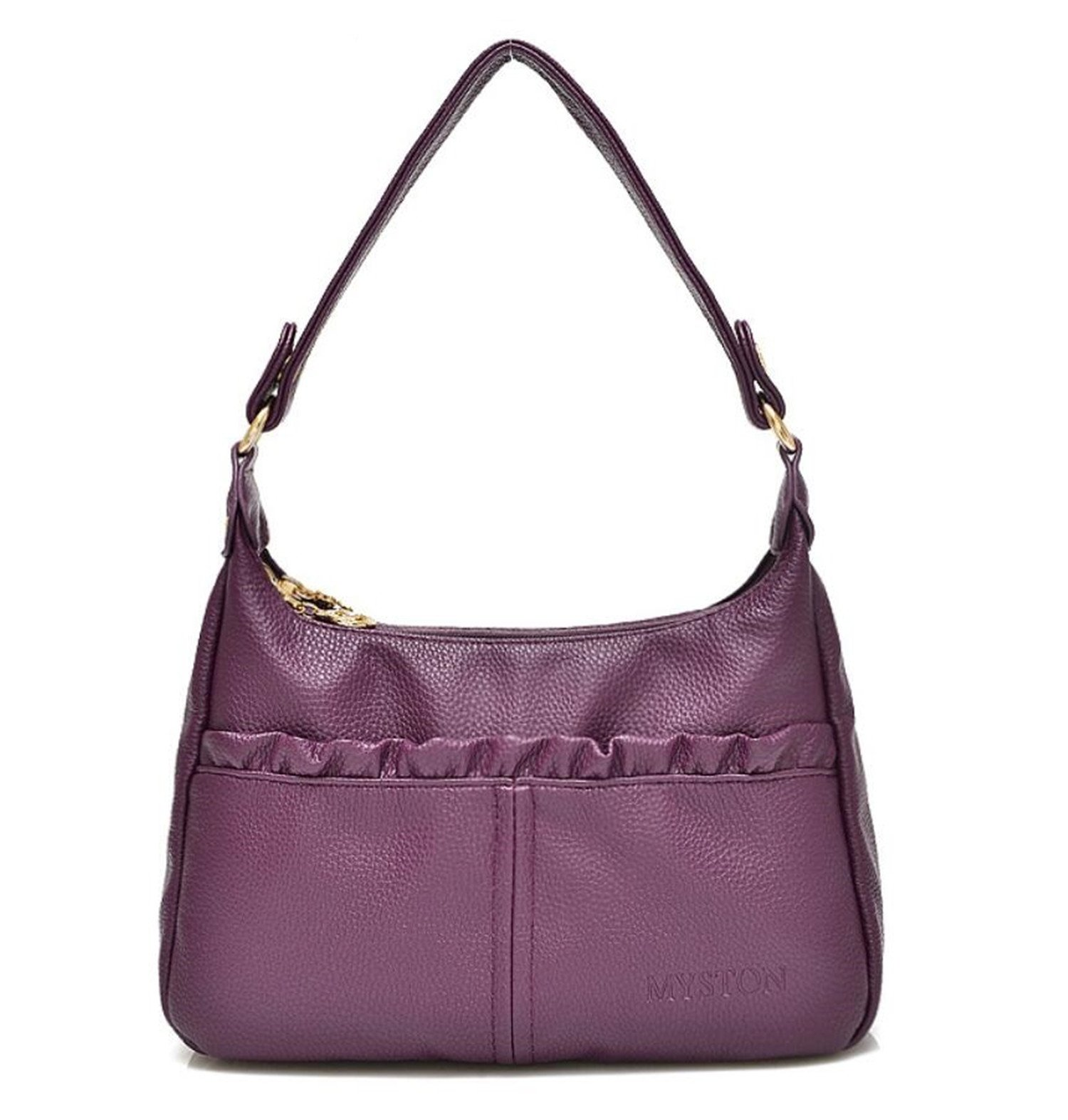 Bagtopia Women's Double Zipper Soft Hobo Style PU Leather Purse Shoulder Bags Small Cross-body Handbags(Purple)