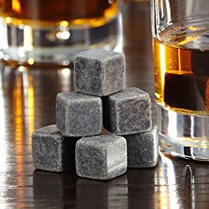 Bcurb Whisky Stones Sipping And Chilling Rocks Ice Cubes Wine Scotch Beer Whiskey Cold Soapstone with Carrying Pouch - 9 Pc Set (Grey)