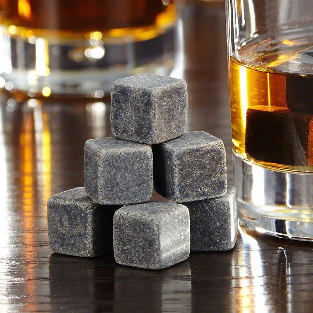 B00L5TDRUA Bcurb Whisky Stones Sipping And Chilling Rocks Ice Cubes Wine Scotch Beer Whiskey Cold Soapstone with Carrying Pouch (Grey - 9Pc Set) 71zl-pu1b3L