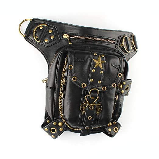 Steampunk Clothing- Men's SAFODO JGX001 Steampunk Chain PU Leather Waist Hip Leg Shoulder BagRetro Women Men Vintage Gothic Rock Leather Steampunk Holster with User Guide and Spare Buckles $40.99 AT vintagedancer.com
