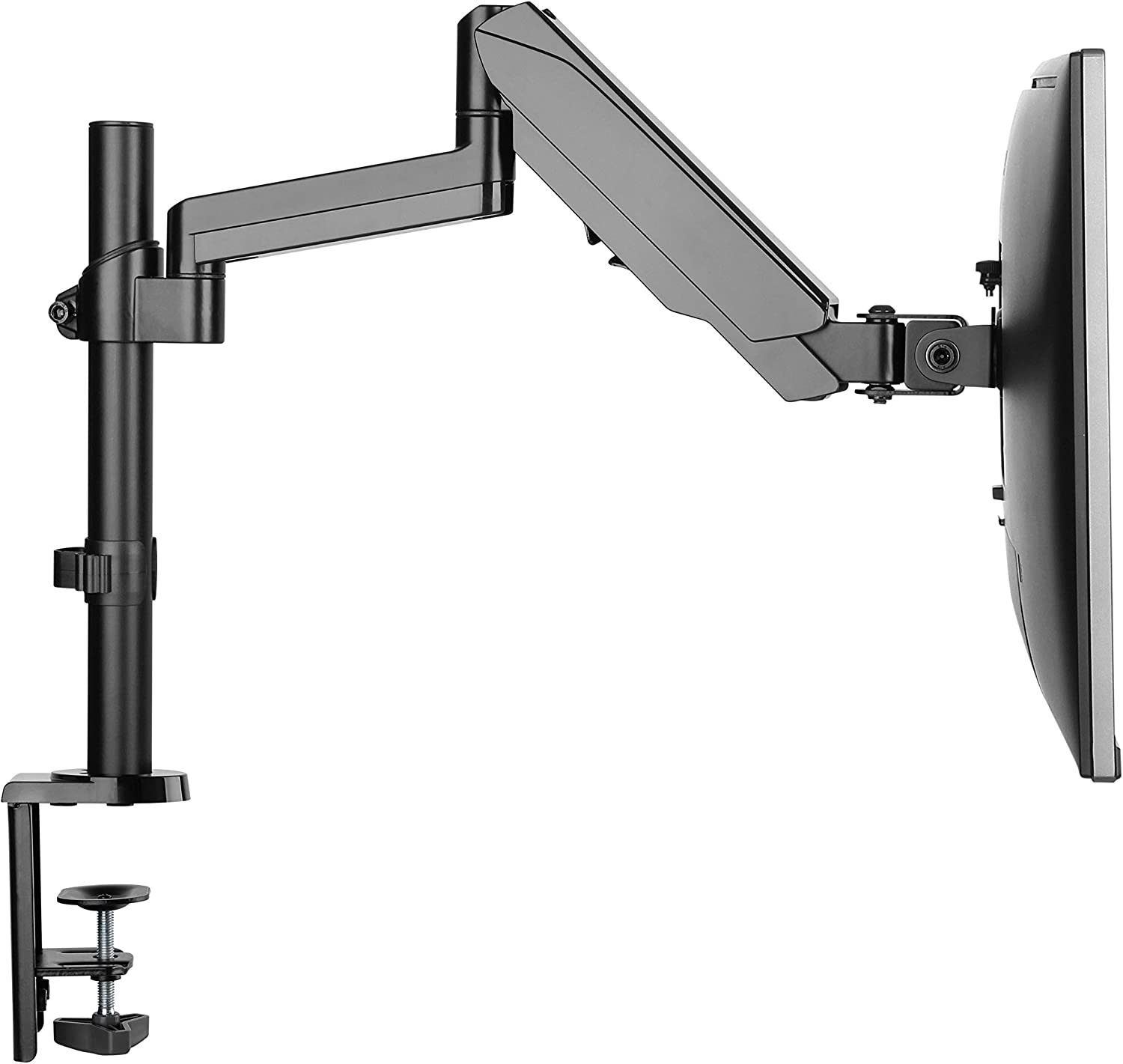 TechOrbits Monitor Mount - Computer Screen Stand - Single Monitor Vesa Mount - Gas Spring Clamp On Arm