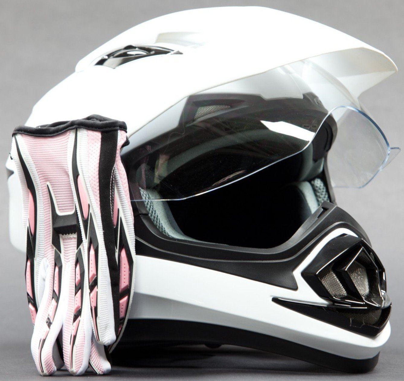 Dual Sport Helmet Combo w/Gloves - Off Road Motocross UTV ATV Motorcycle Enduro - Gloss White, Pink - Small