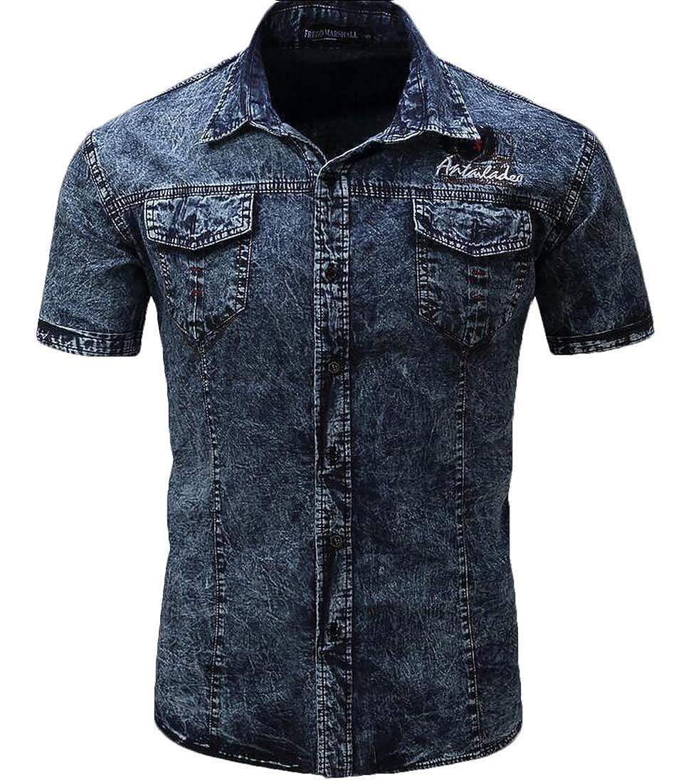 WSPLYSPJY Mens Cotton Dress Shirt Long Sleeve Slim Fit Button Down Shirts Tops
