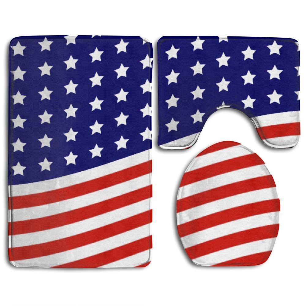 Bath Mat,3 Piece Bathroom Rug Set,American Flag Flannel Non Slip Toilet Seat Cover Set,Large Contour Mat,Lid Cover For Men/Women outlet
