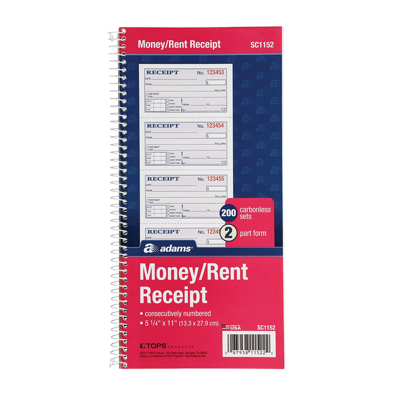 Adams Money and Rent Receipt Book, 2-Part Carbonless, 2.75 x 7.13 Inch Detached, Spiral Bound, 200 Sets per Book (SC1182) TOPS Business Forms Inc.