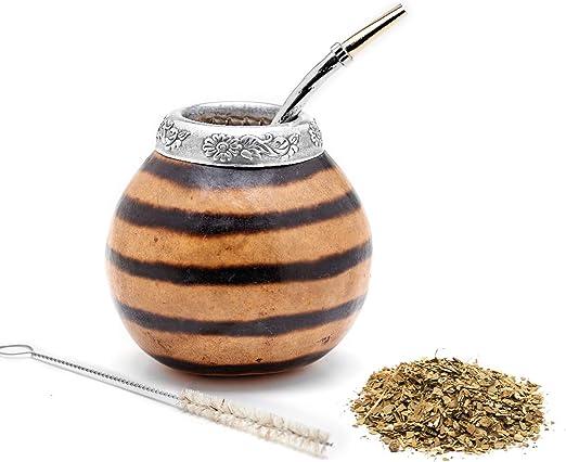 Balibetov Yerba Mate Gourd Set (Original Natural Handmade Yerba Mate Cup Argentina) - Includes Mate Tea Cup, Bombilla (Yerba Mate Straw) and Clean Brush - Classic Mate Cup and Bombilla Set(01)