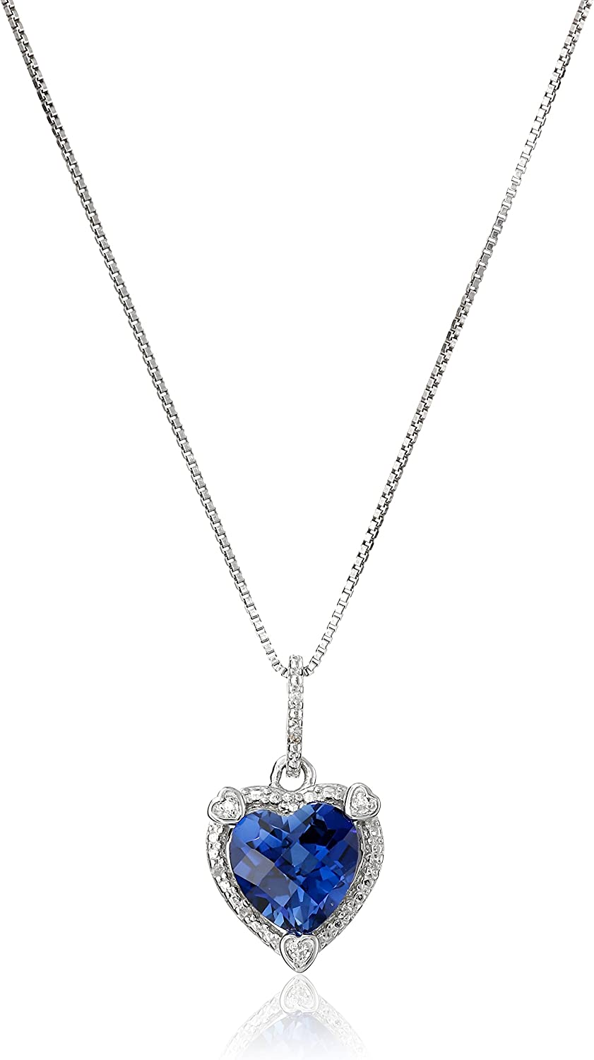 Created Sapphire Heart Pendant Necklace in Silver with Chain