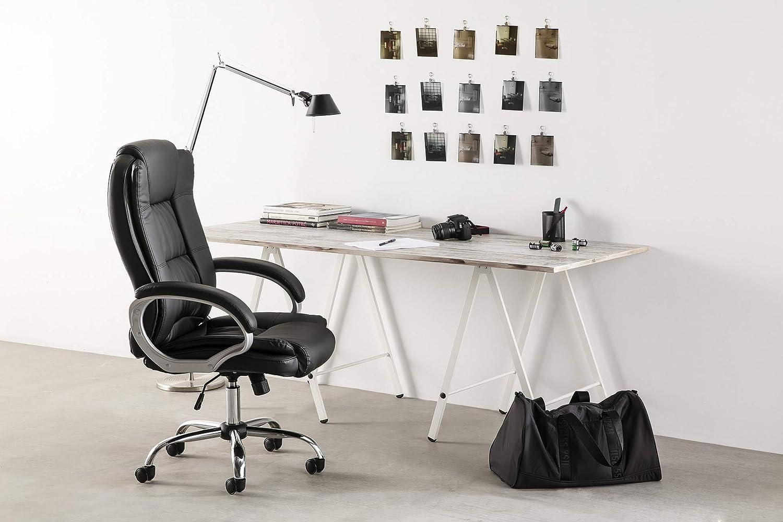 VS Venta-stock Chaise de Bureau Confort 2 Elevable et Fauteuil inclinable en Simili Cuir Blanc