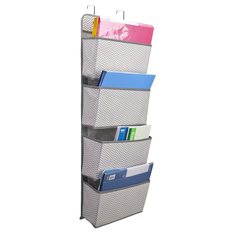 Maddott 4-Pocket 2 Hooks Hanging Wall Organizer for Magazines, Notebooks, File Storage Folders (Gray Stripe)