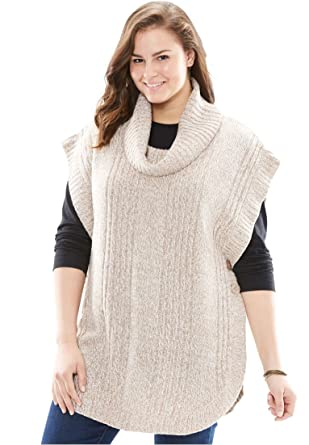 Women's Plus Size Marled Cowl Neck Poncho at Amazon Women's ...