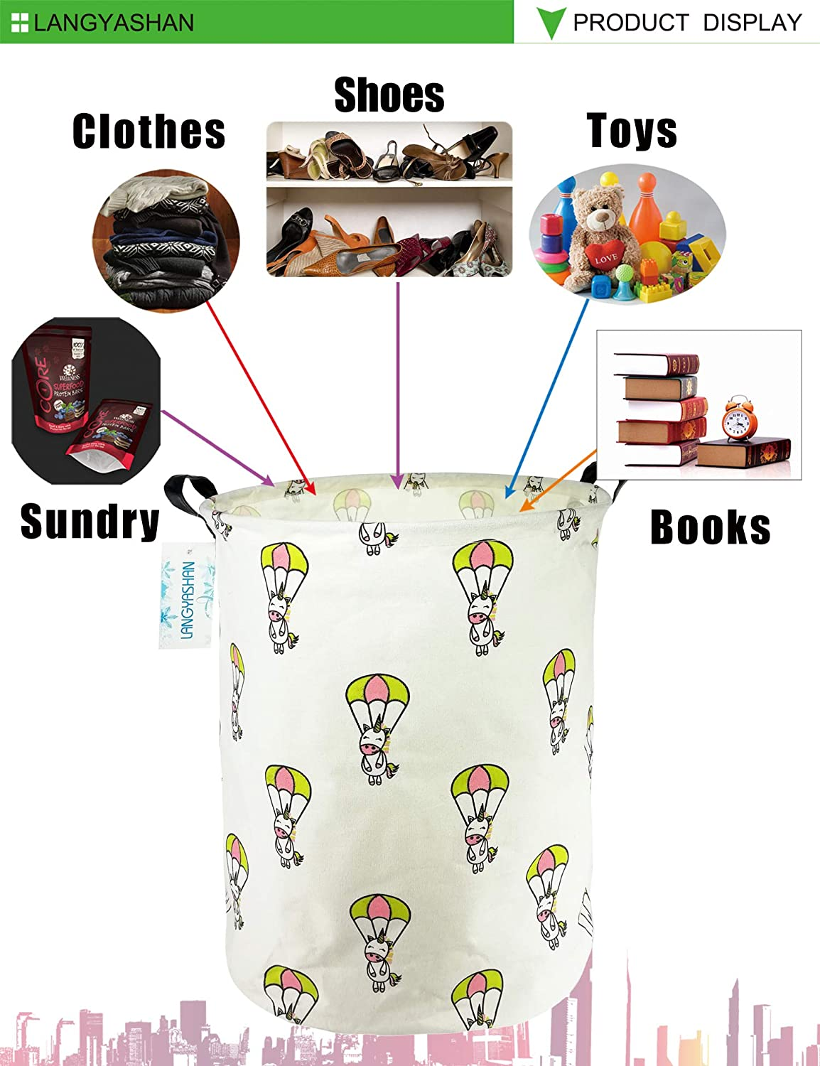 Clothes,Baby Nursery Bedroom Smile Dog LANGYASHAN Storage Bin,Canvas Fabric Collapsible Organizer Basket for Laundry Hamper,Toy Bins,Gift Baskets
