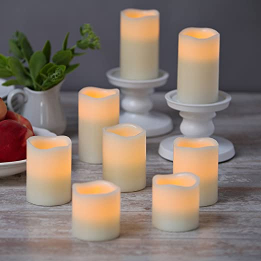 Christmas Tablescape Decor - Flameless Pillar Candle Set of 8 with Remote