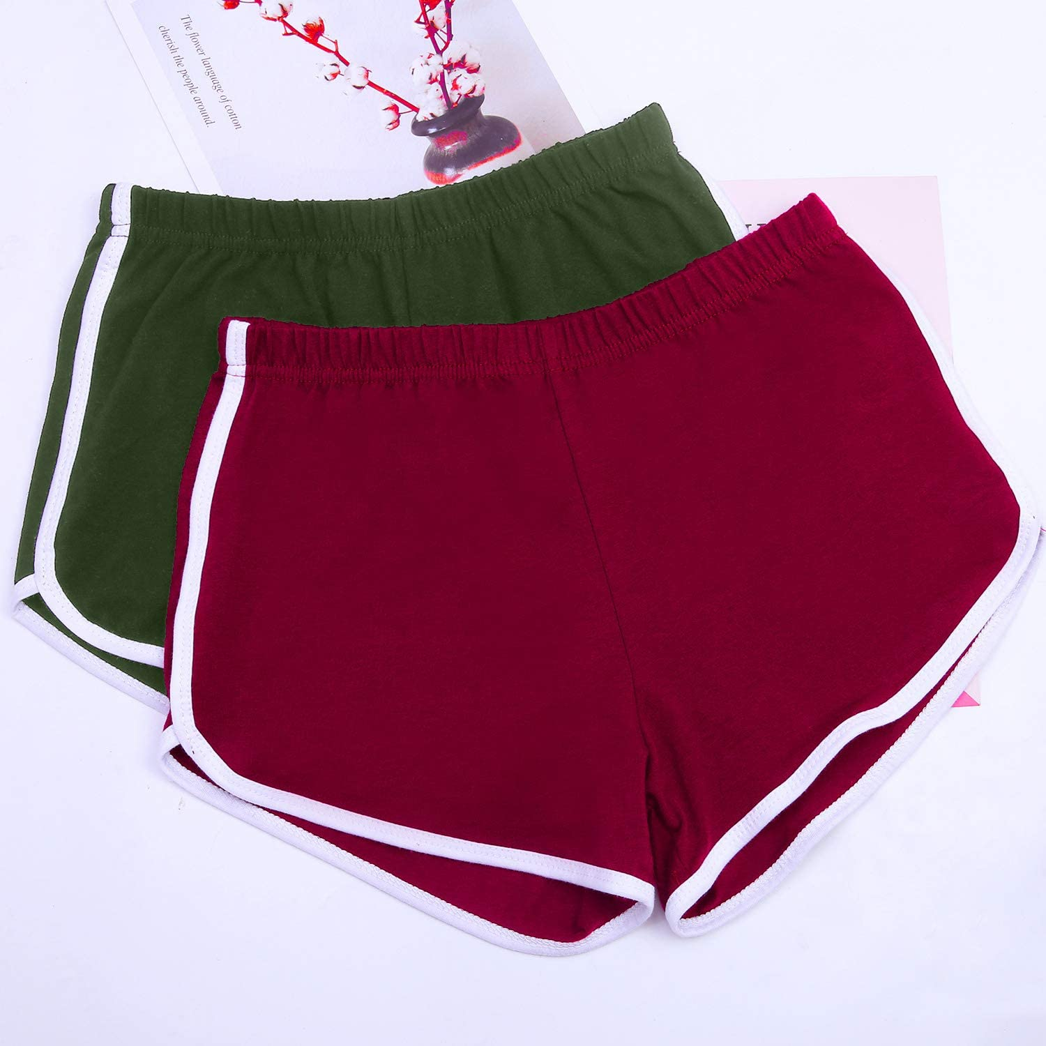 URATOT 2 Pack Cotton Sport Shorts Yoga Dance Short Pants Summer Athletic Shorts Army Green, Jujube Red