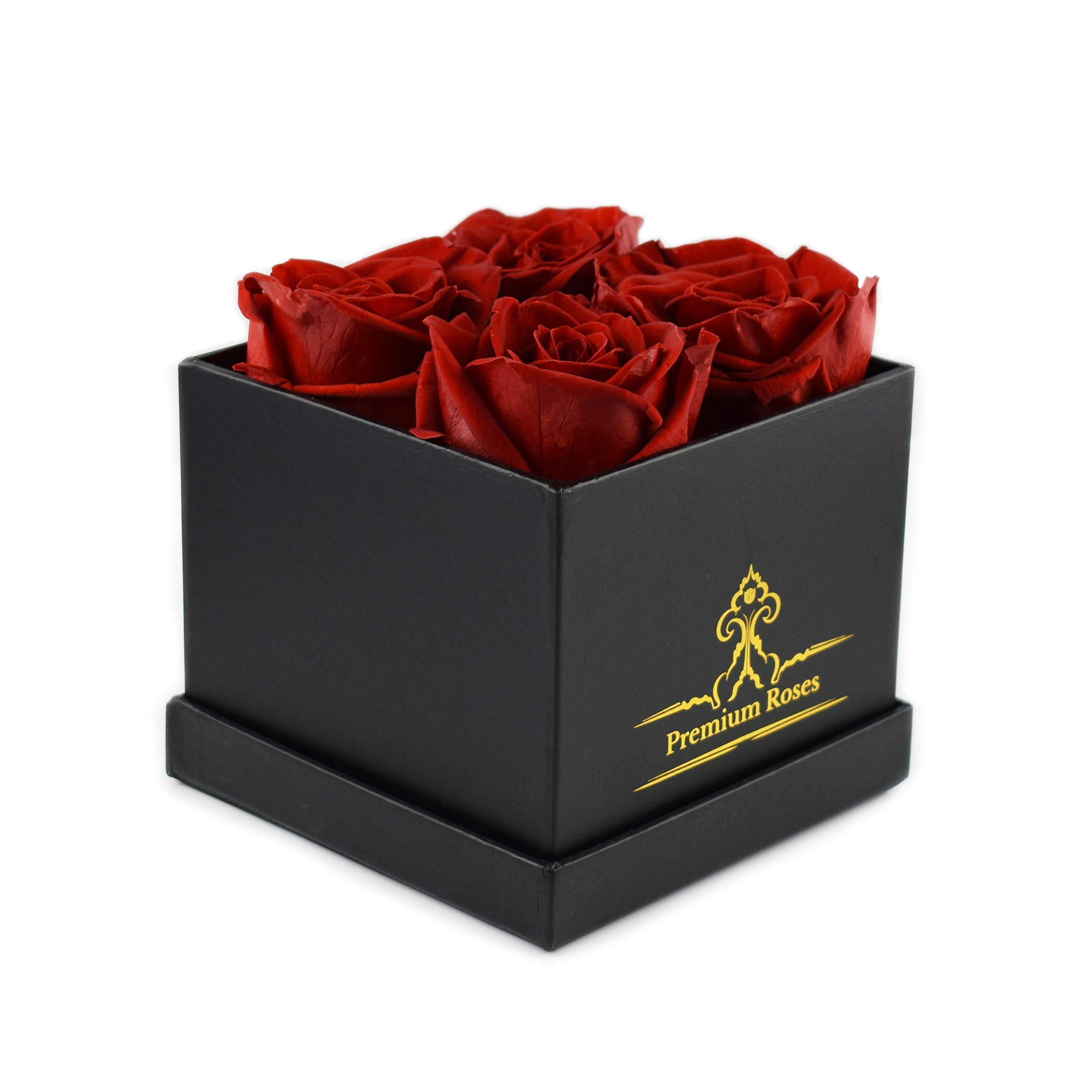 Premium Roses | Model Posh | Real Roses That Last 365 Days | Roses in a Box| Fresh Flowers (Black Box, Small) by Premium Roses (Image #1)