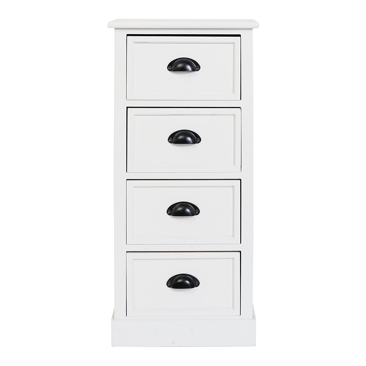 Mobili Shabby Country.Rebecca Mobili Cabinet Furniture Bedside 4 Drawers White Wood Country Shabby Chic French Home Decor Bedroom 81 X 37 X 29 Cm H X W X D Art
