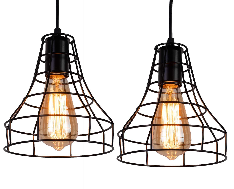 INNOCCY Industrial Pendant Light E26 E27 Industrial Metal Cage Hanging Pendant Lights Vintage Pendant Lamp Fixture 2 Pack