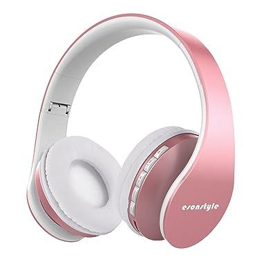 Esonstyle [versión actualizada] Over Ear Auriculares, Bluetooth inalámbrico Plegable Auriculares con micrófono Apoyo
