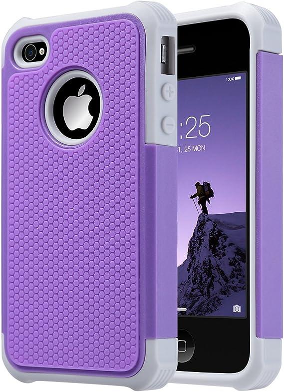 ULAK Coque iPhone 4S, iPhone 4 Coque Housse de Protection Anti-Choc Matériaux Hybrides en Silicone Souple et PC Dur pour Apple iPhone 4 4S (Pourpre)