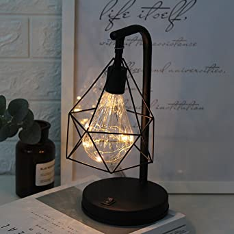 Lámpara de Escritorio de metal,SUAVER Edison Bombilla Lámpara de Mesa vintage,Batería Lámpara de noche decorativa Ambiental Luces para Dormitorio Boda Navidad Decoración del Hogar (Blanco cálido): Amazon.es: Iluminación