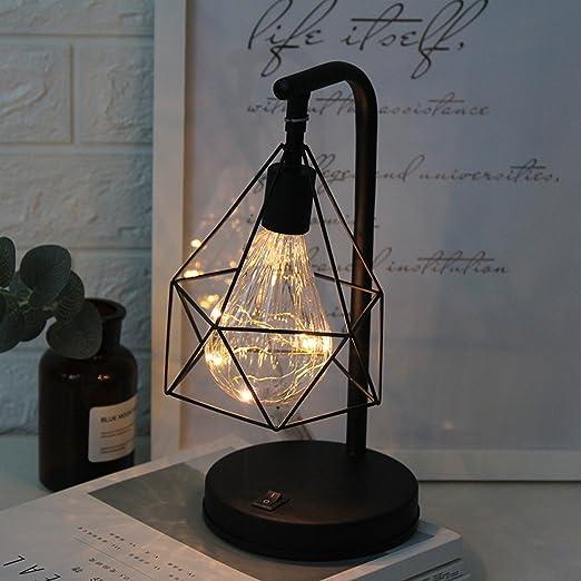 Lampada da Tavolo Metallo,SUAVER Batteria Lampada Scrivania Luce di atmosfera stile retrò Lampadina notturna Lampada da comodino in metallo decorativo
