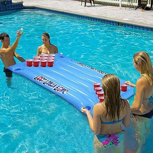 Erduo Cerveza Inflable Pong Flotador Piscina Piscina Balsa Lounge PVC Balsa Flotante con 24 portavasos para el Juego de la Fiesta en la Piscina - Azul: ...