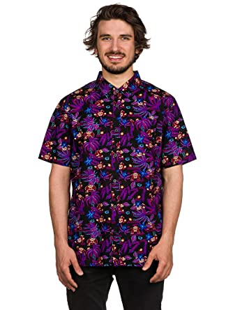 c3f24655 Vans Off The Wall Men's Nintendo Donkey Kong Buttondown Shirt (Small,  Black/Purple) at Amazon Men's Clothing store: