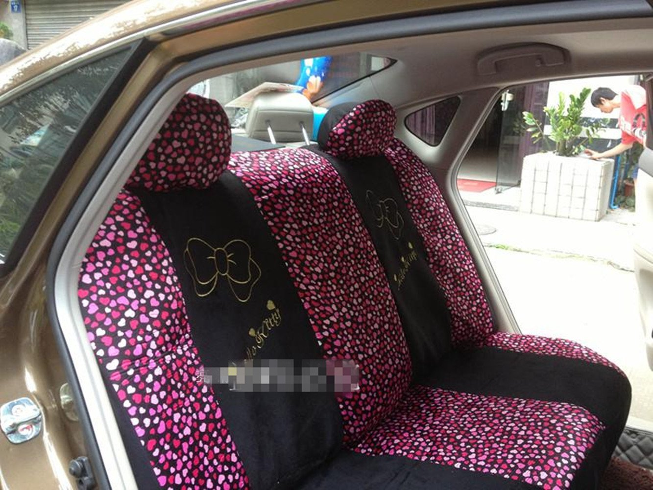 Black/Peach Bow Front Rear Car Seat Cushion Cover Black&Gold 18pcs Full Set Needlework by GH8 (Image #5)